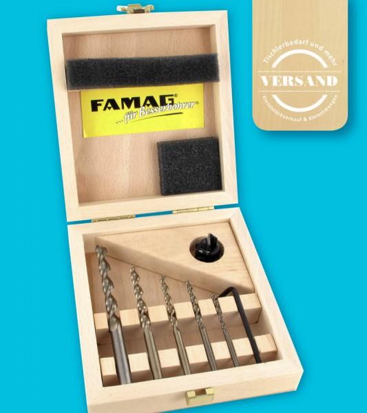 FAMAG Premium Holzspiralbohrer Satz, 6-teilig, inkl. VARIO Aufsteckversenker