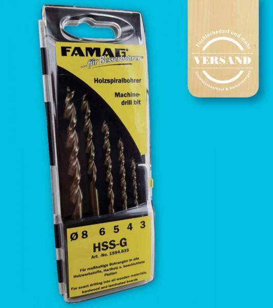5-teiliger Premium Holzspiralbohrersatz von FAMAG, Ø 3/4/5/6/8 mm