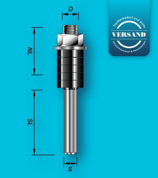 Aufnahmedorn mit 12 mm Schaft und für Scheibenutfräser mit 8 mm Bohrung