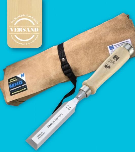 MHG Stechbeitel mit Weißbuchengriff im 6teiligen Set inkl. Leder-Rolltasche