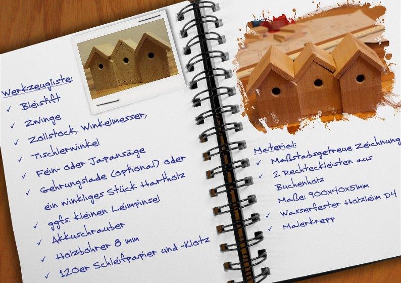 Werkzeugliste und Material