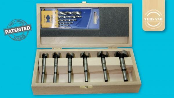 Fisch WAVE CUTTER-Forstnerbohrer & Holzspiralbohrer Set, 11-teilig, Ø 15-35 mm & 4-10 mm